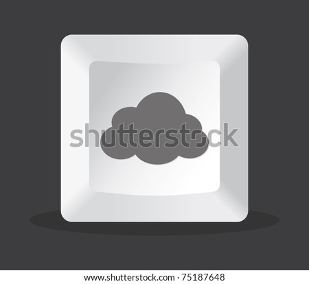 cloud key computer in black background - stock vector