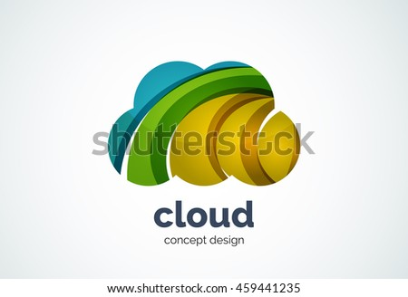 Cloud logo template, remote hard drive storage or weather concept - geometric minimal style, created with overlapping curve elements and waves. Corporate identity emblem, abstract business company - stock vector