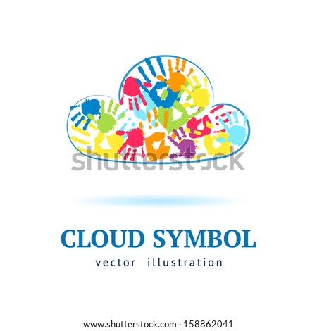 Cloud made from color hands on white background - stock vector