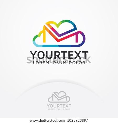 Cloud Mail Logo Abstract Symbols Cloud Stock Vector 1028923897