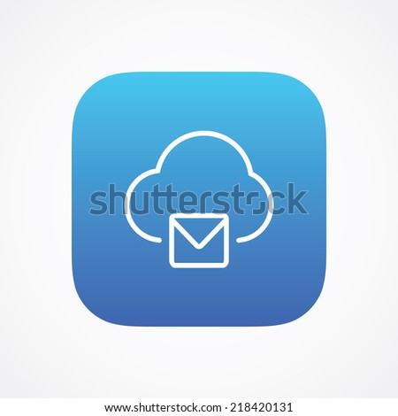 Cloud mail storage icon button, vector illustration. Simple flat metro design style. esp10 - stock vector