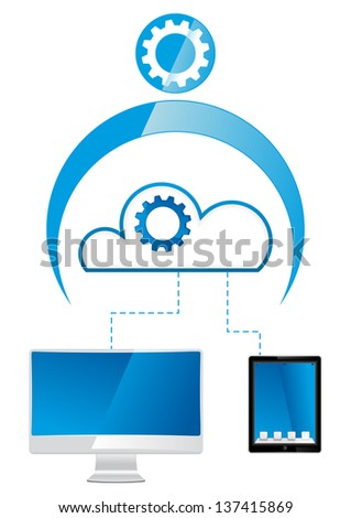 cloud man with virtual links - stock vector