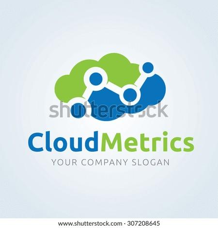 Cloud metrics,Cloud marketing,Cloud computing logo,cloud logo,Vector Logo Template - stock vector