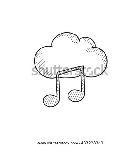 Cloud music vector sketch icon isolated on background. Hand drawn Cloud music icon. Cloud music sketch icon for infographic, website or app. - stock vector