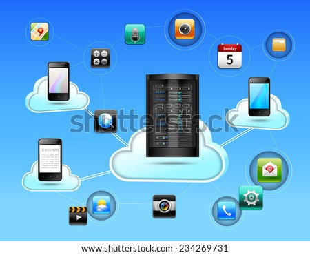 Cloud network concept with database and mobile communication technologies realistic vector illustration - stock vector
