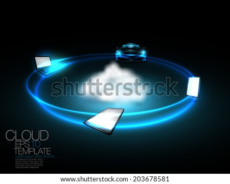 cloud network concept with mobile phone , lap top computer,tablet and car.  Editable vector template. - stock vector