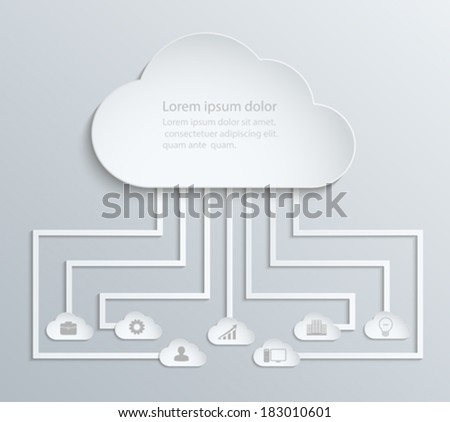 Cloud network with icons, paper economic infographics - stock vector