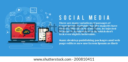 Cloud of application icons. Social media concept. Banner with social media item icons - stock vector