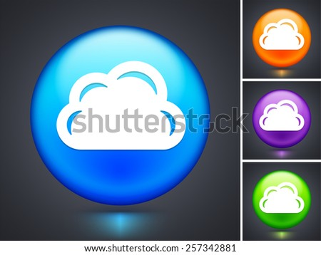 Cloud on Blue Round Button - stock vector