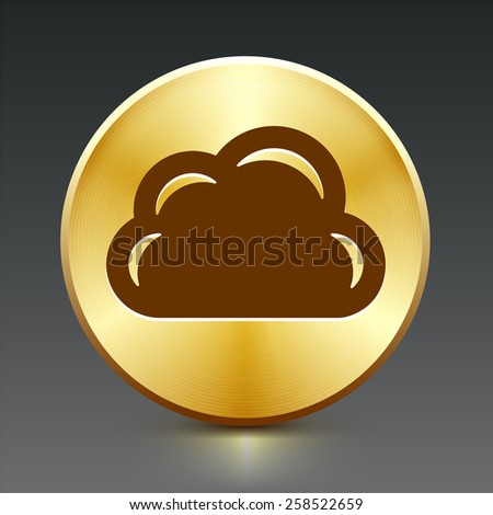 Cloud on Gold Round Button - stock vector