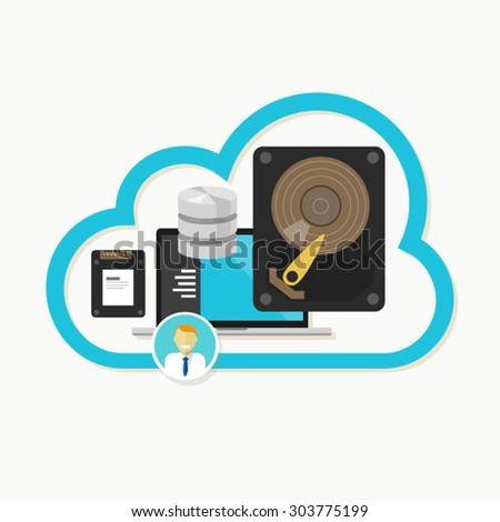 cloud online storage hard drive ssd data - stock vector