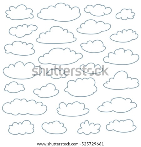 Cloud outlines collection. Set of vector cartoon cute simple clouds shapes. Icon and sign logo idea