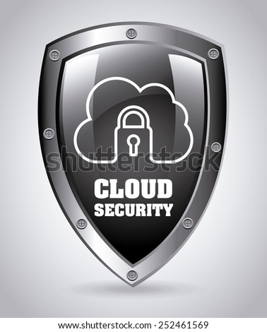 cloud security design, vector illustration eps10 graphic  - stock vector