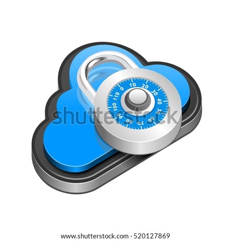 Cloud security icon with padlock, Vector 3d network illustration