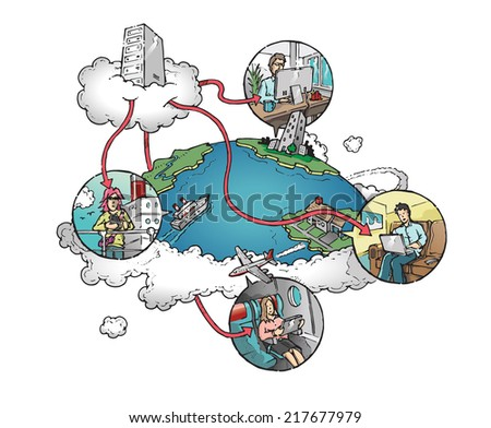 Cloud server connected to tablet, phone, laptop and computer. Hand drawn isolated color vector sketch on white background. - stock vector