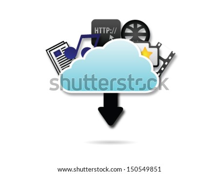 Cloud Server Downloading - stock vector