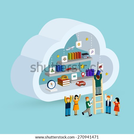 cloud service concept 3d isometric infographic with a man taking out a book from internet - stock vector
