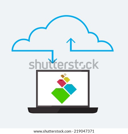 Cloud service image in flat style - stock vector
