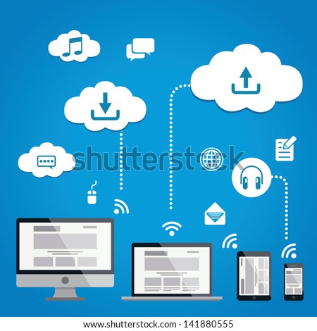 Cloud Service Infographics EPS 10 Vector Illustration - stock vector