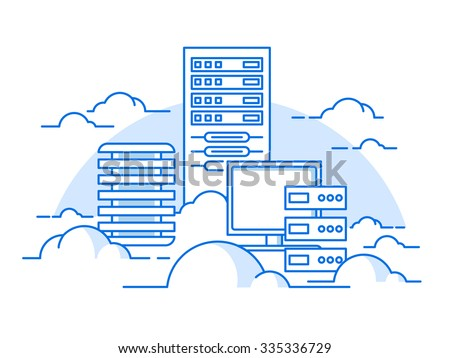 Cloud service. Internet and computer, communication information, server. flat vector illustration - stock vector