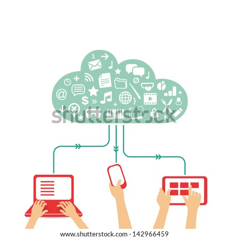 cloud service used with different devices - communication in the global computer networks - stock vector