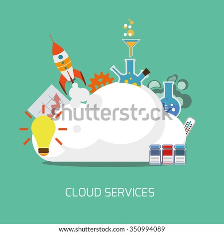 Cloud services flat concept. Vector illustration. - stock vector