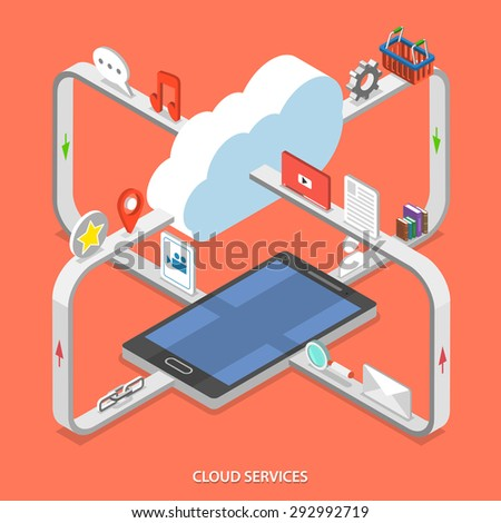 Cloud services flat isometric vector concept. Web content moving process between cloud services and mobile device. - stock vector