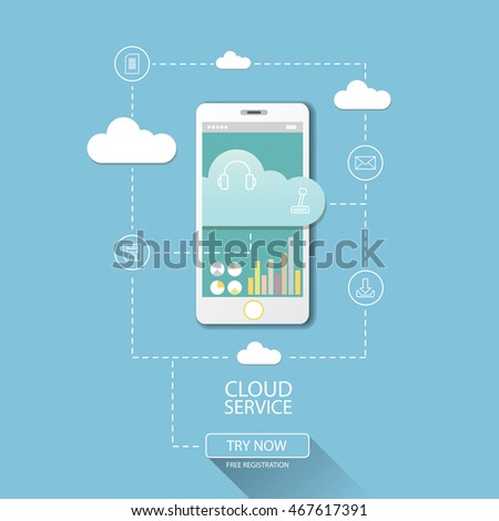 Mobile Cloud Computing Services Flat Web 스톡 벡터 489692935 - Shutterstock