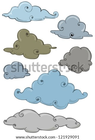 cloud set isolated on white - stock vector