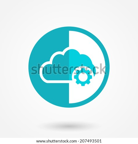 Cloud settings icon in flat style