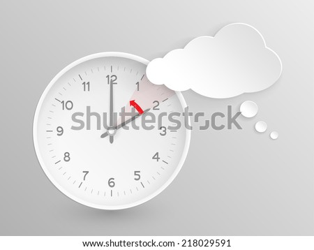 Cloud shaped speech bubble and vector clock with hands at 2 o'clock and an red arrow symbolizing the hour backward to 1 o'clock for the change of time in autumn, fall in America on silver background. - stock vector
