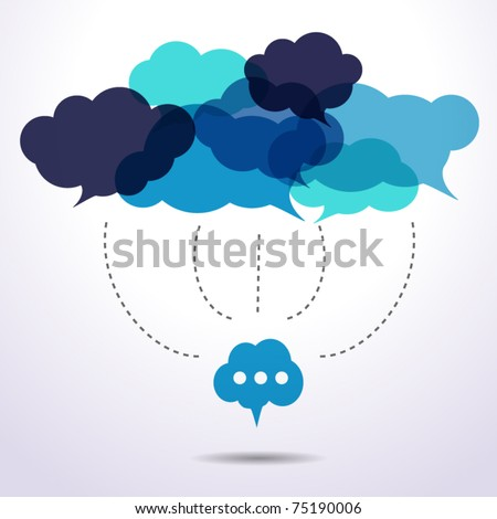 Cloud speech bubbles are connecting - stock vector