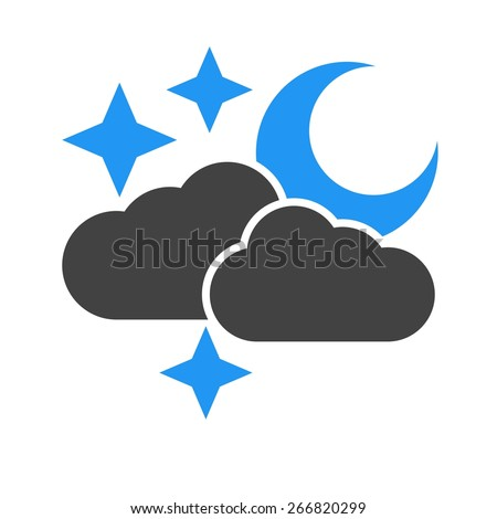 Cloud, stars, moon, rain icon vector image. Can also be used for weather, forecast, season, climate, meteorology. Suitable for web apps, mobile apps and print media. - stock vector