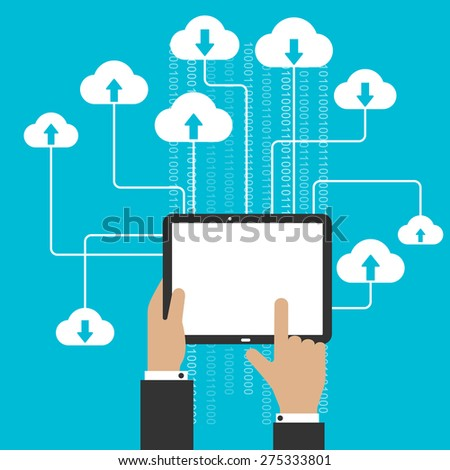 Cloud storage and computing service concept with a man uploading and downloading information from the cloud onto a blank tablet computer - stock vector