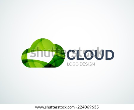 Cloud storage, flat design company logo, business symbol concept, minimal line style - stock vector