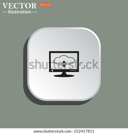 cloud storage on the computer, vector illustration, EPS 10 - stock vector