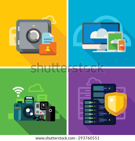 Cloud storage, transmission and security. ?omputer equipment, photo and video files. Internet security, database. Color vector flat illustration and icon set - stock vector