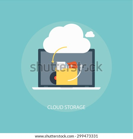 Cloud storage vector isolated icon  The concept of backup files or data in online storage.  Design cloud services in flat style. - stock vector