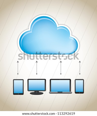 cloud storage with different communication devices - stock vector