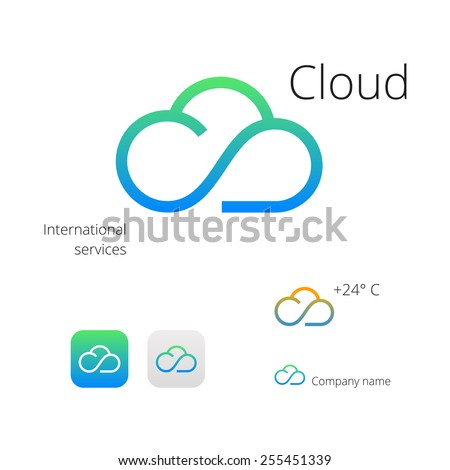 Cloud stylish logo and icons - stock vector