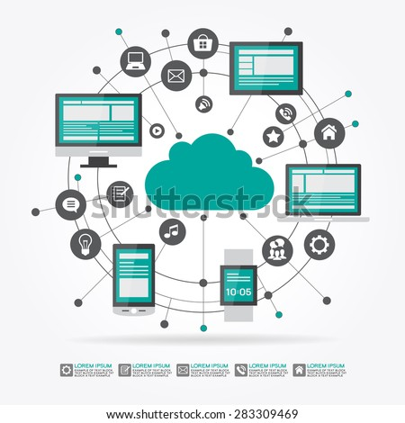 Cloud surrounded by abstract computer network with integrated circles and icons for digital,  network, internet, connect, social media, communicate Infographic design background - stock vector