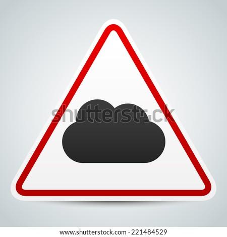 Cloud symbol on road sign. Storm ahead - stock vector