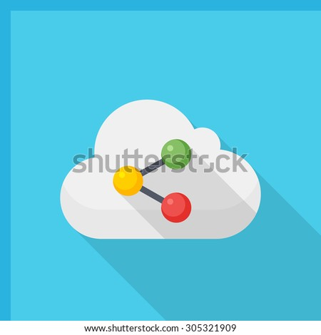 Cloud sync icon, vector illustration. Flat design style with long shadow,eps10 - stock vector