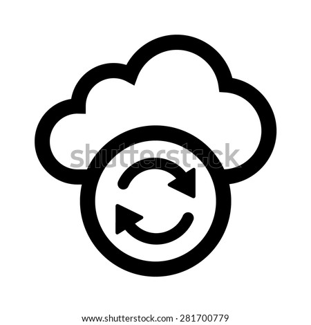 Cloud sync refresh line art icon for apps and websites - stock vector