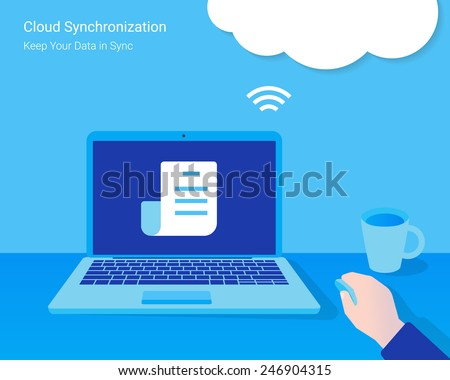 Cloud synchronization. Man opened a document from synchronized cloud server - stock vector