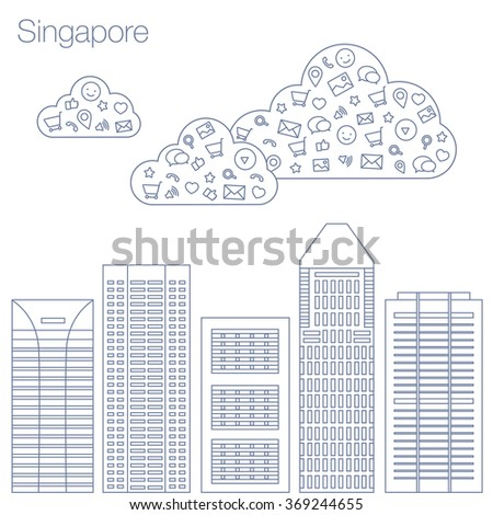 Cloud technologies and services in the world wide web. Hackathon, workshop, seminar, lecture in metropolis Singapore. City is in flat style for presentations, posters, banners. Vector illustration  - stock vector