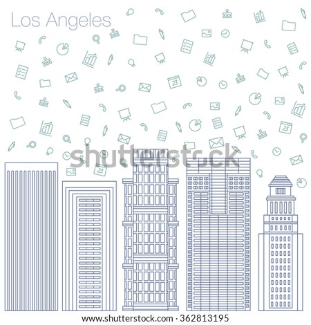 Cloud technologies and services in the world wide web. Hackathon, workshop, seminar, lecture in the metropolis Los Angeles. The city is in a flat style for presentations, posters, banners. - stock vector