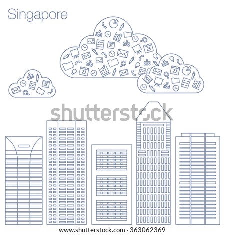 Cloud technologies and services in the world wide web. Hackathon, workshop, seminar, lecture in the metropolis Singapore. The city is in a flat style for presentations, posters, banners. - stock vector