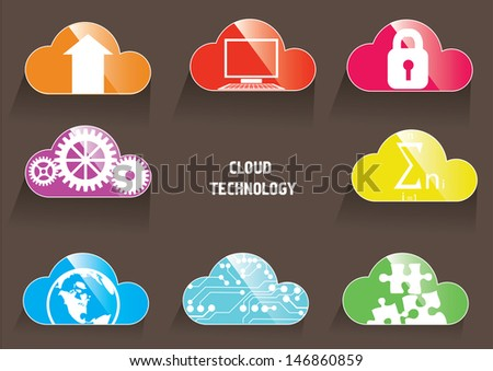 Cloud technology color icons - stock vector