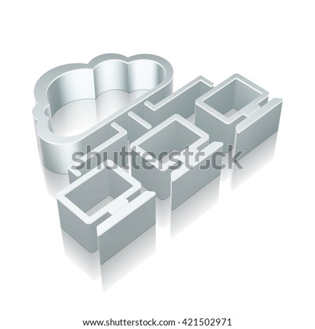Cloud technology icon: 3d metallic Cloud Network icon with reflection on White background, EPS 10 vector illustration. - stock vector